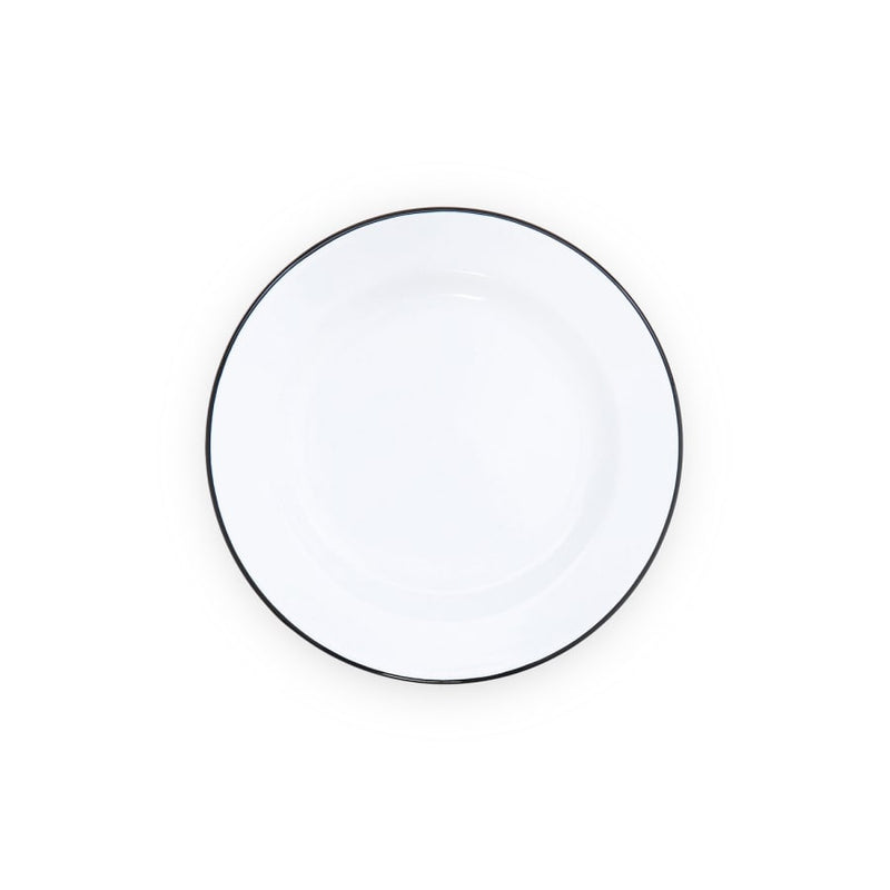 "Salad Plate (8"") - White and Black Trim Enamelware"