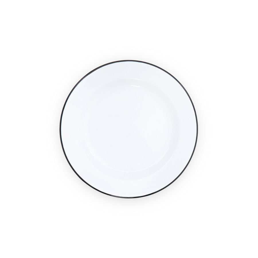 "Buffet Plate (12"") - White and Black Trim Enamelware"