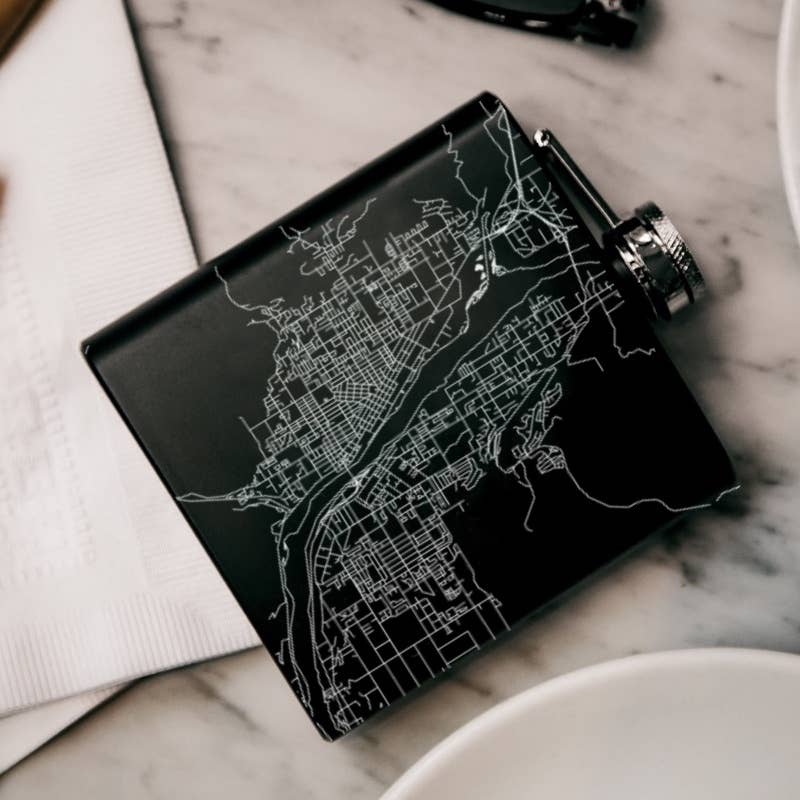Wenatchee Map Hip Flask in Matte Black