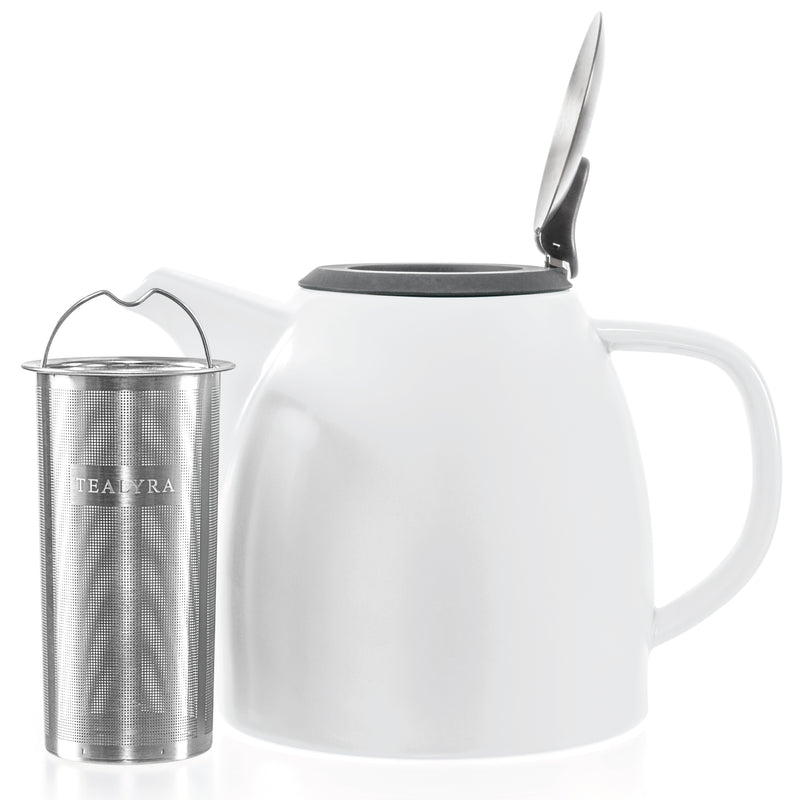 White Ceramic Teapot with Infuser (37 oz)