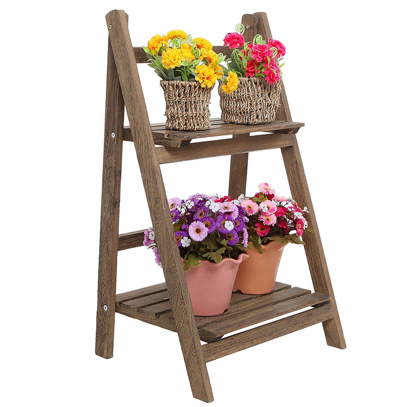 Brown 2-Tier Foldable Shelf Rack