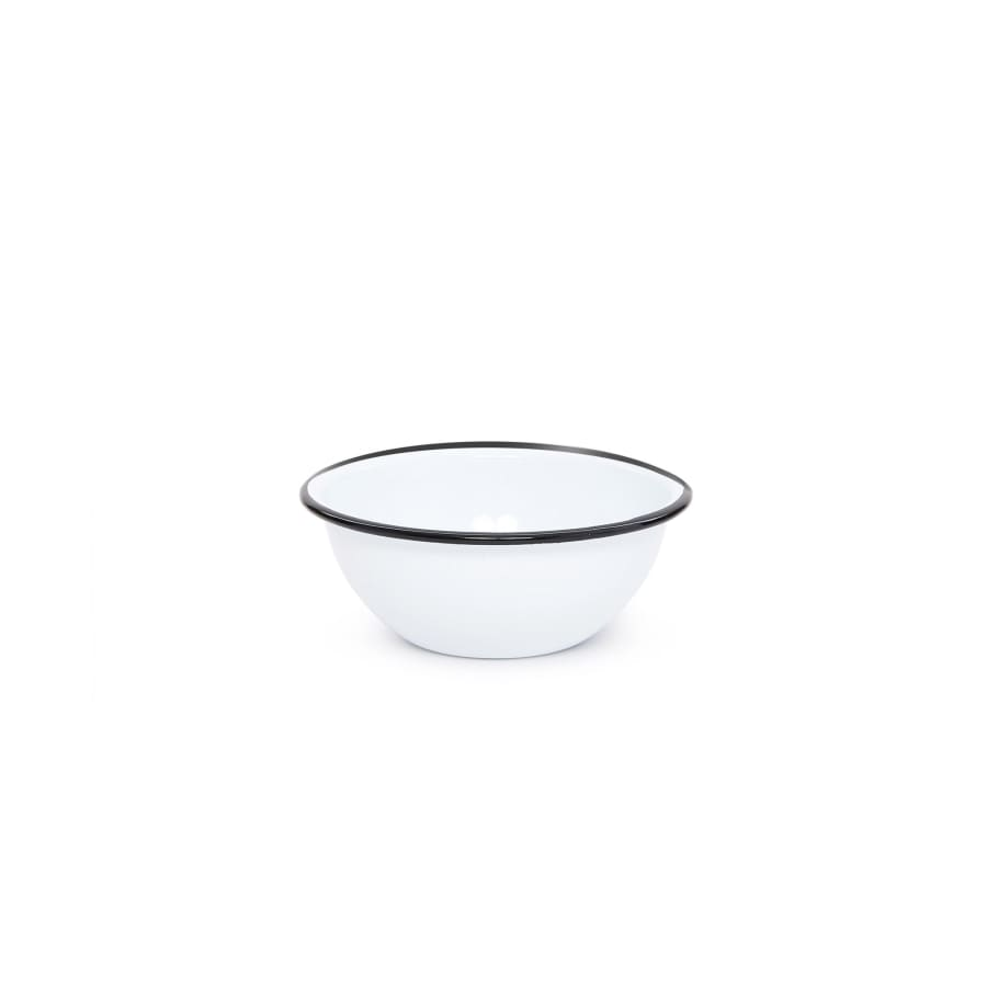 "Cereal Bowl (6.25"") - White and Black Trim Enamelware"