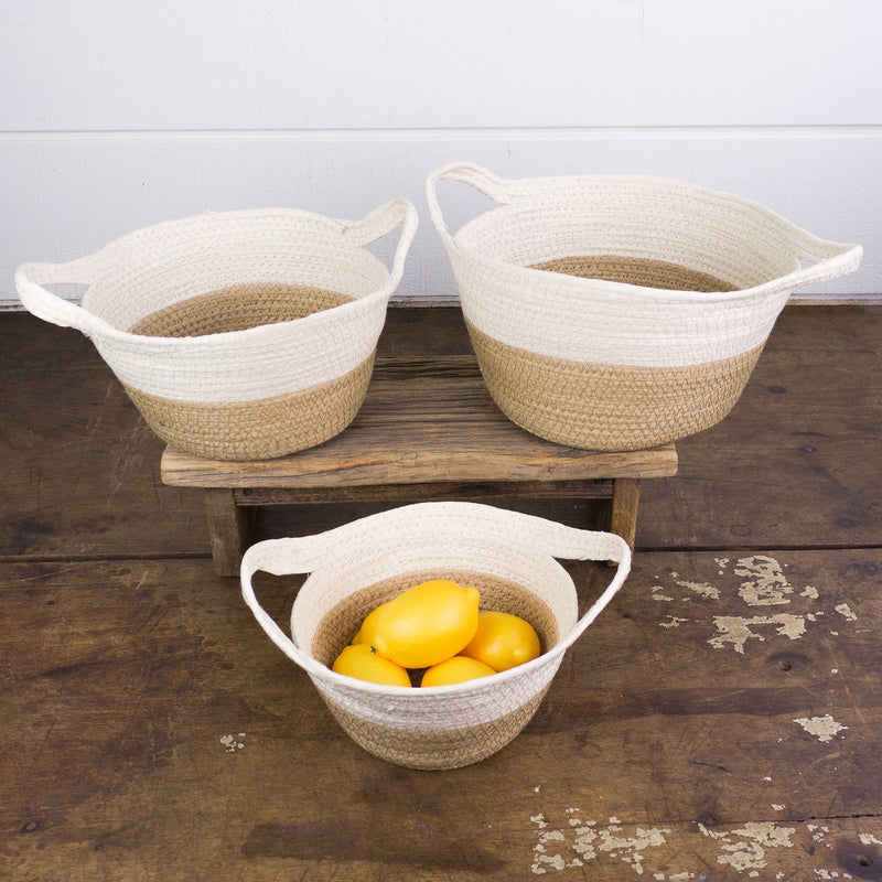 Short Tan/Cream Round Stitched Basket With Handle (Set of 3)