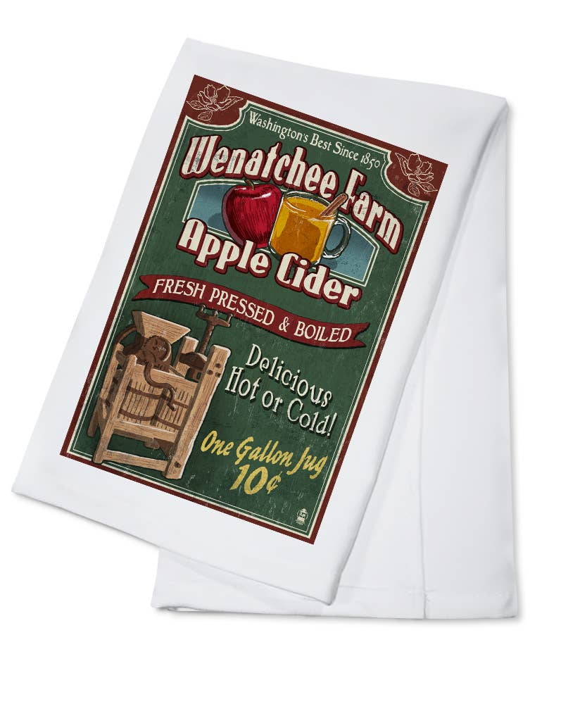 Wenatchee Farm Apple Cider Vintage Sign Towel