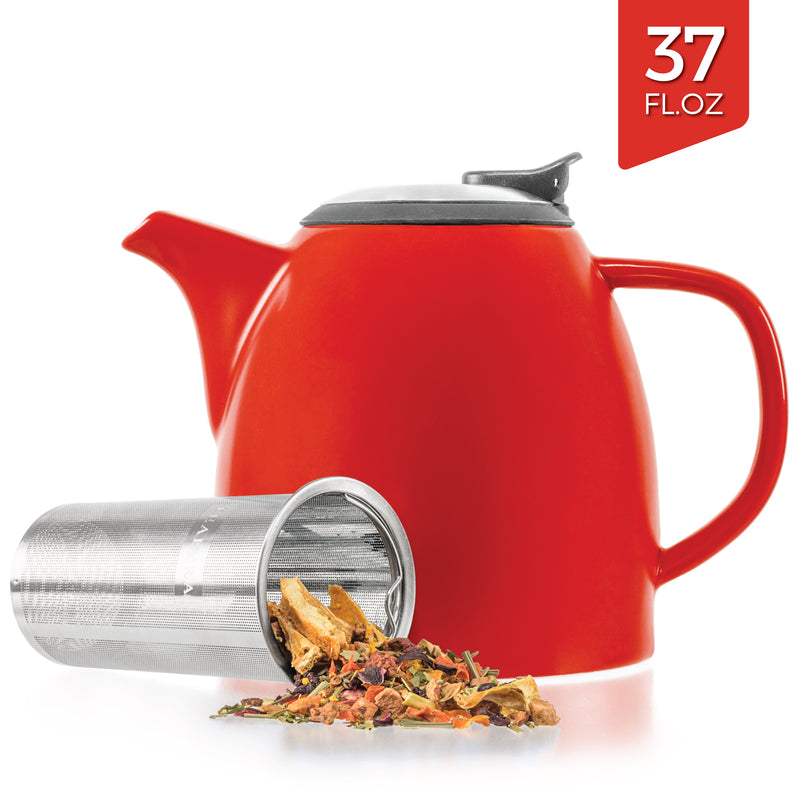 Red Ceramic Teapot With Infuser (37 oz)