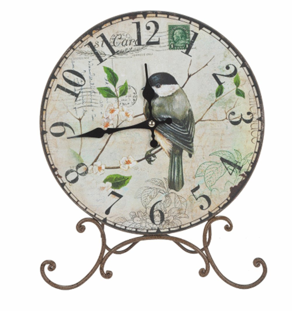Bird On Branch Round Clock with Stand