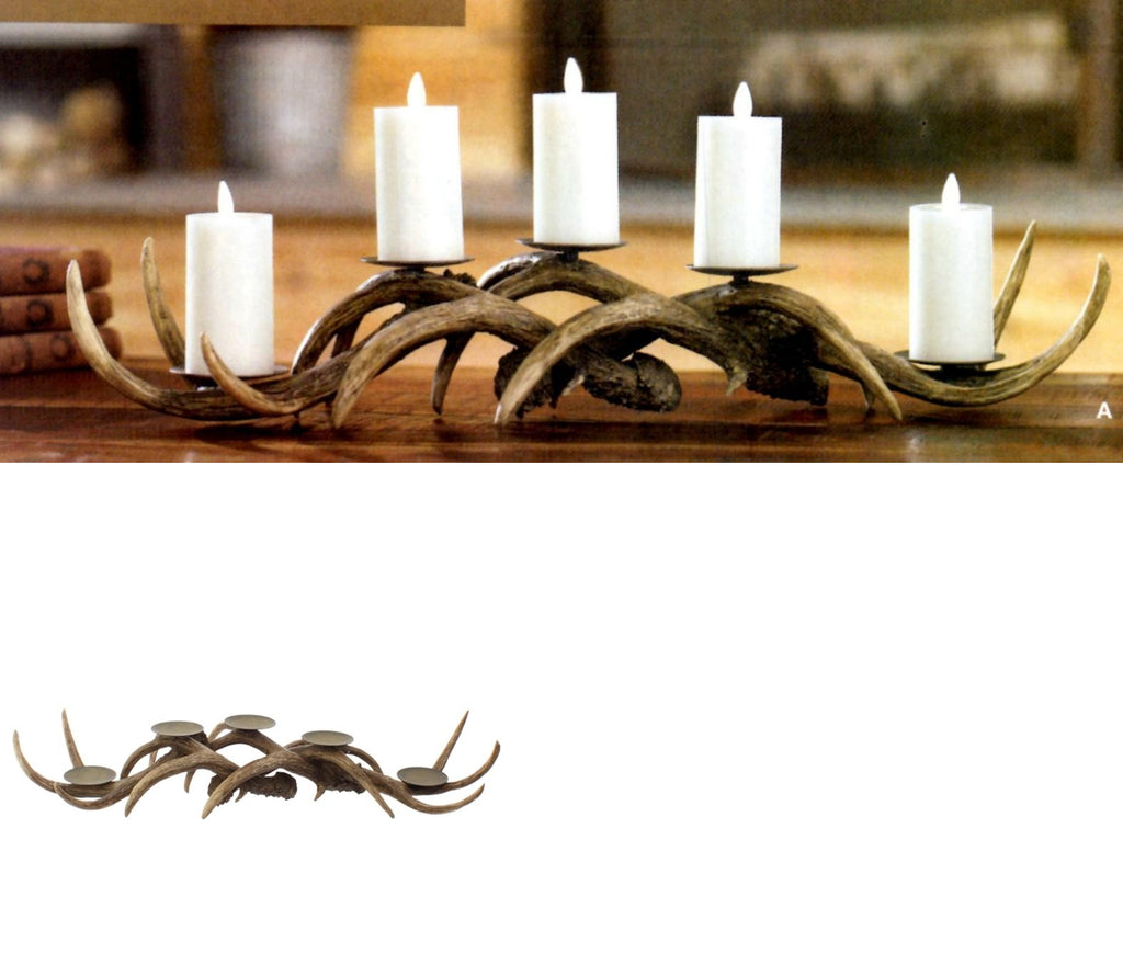 "24"" Brown Antler Candle Holder"
