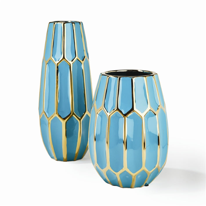 Faceted Turquoise Gold Edge Vase