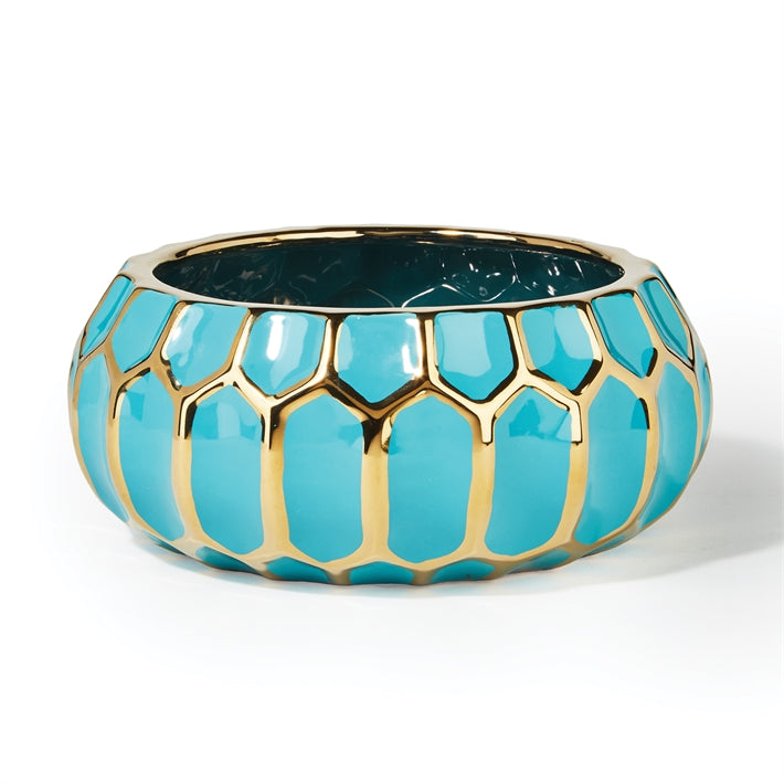 Faceted Turquoise and Gold-Edged Bowl