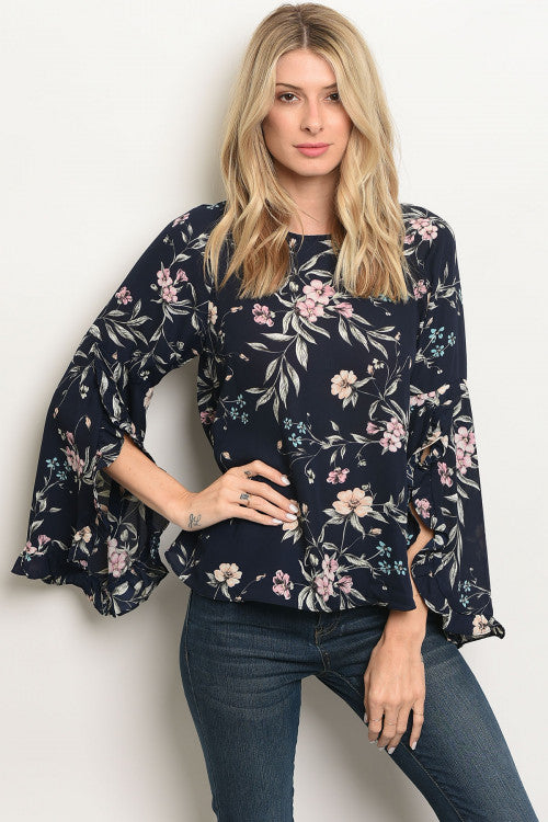 loveriche Navy Floral Top