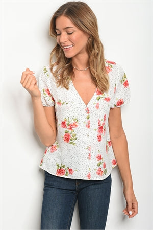 Available White Floral Top