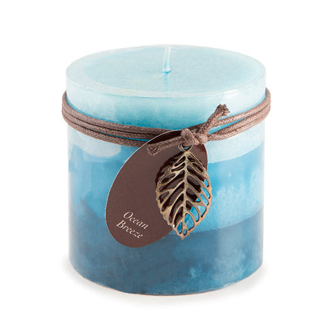 Dynamic Collections® Layered Candles - Ocean Breeze - 4- inch Wide Pillar