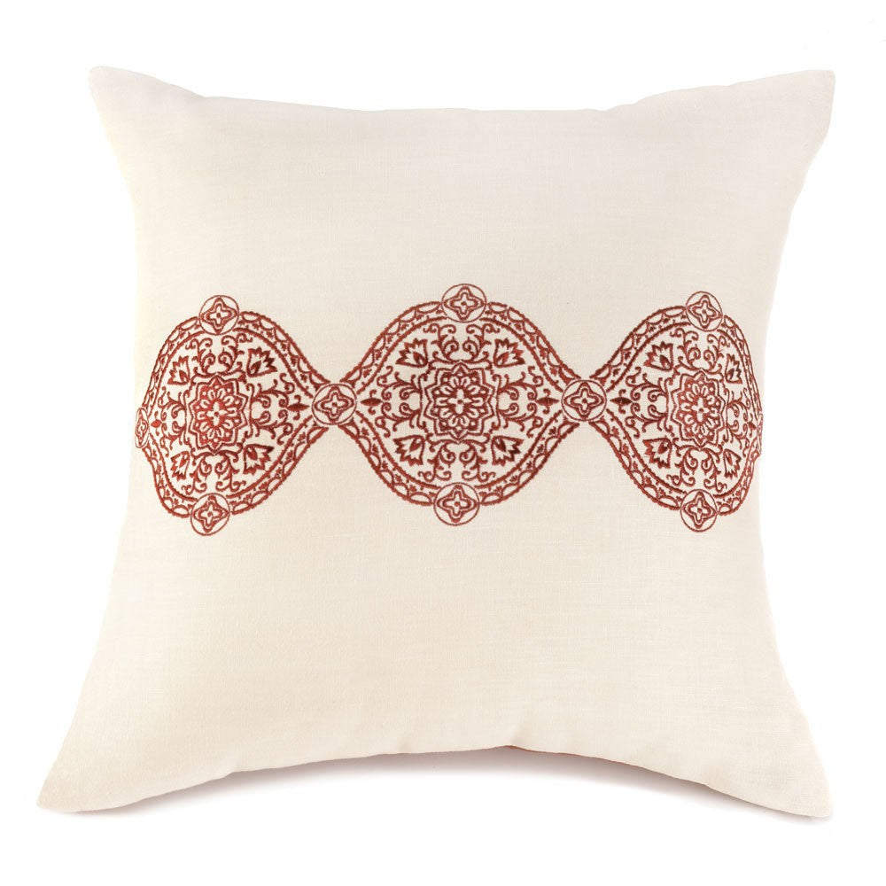 Ecru and Spice Throw Pillow