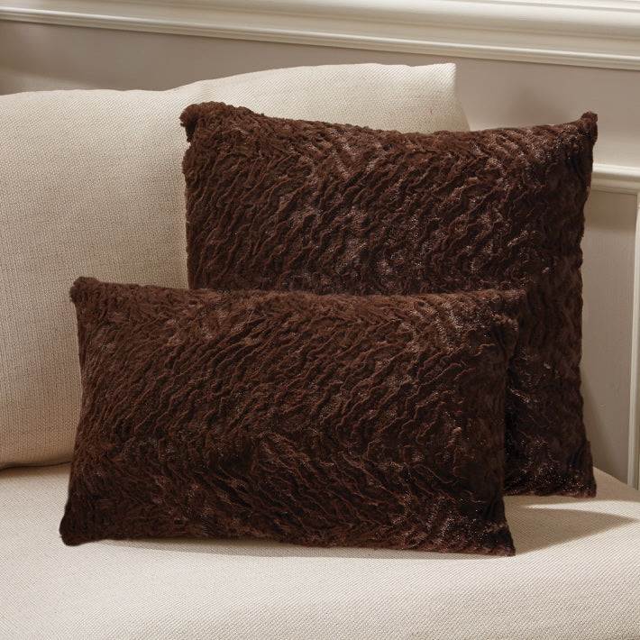 Fabulous Faux Fur Dark Chocolate Channeled Mink Pillow