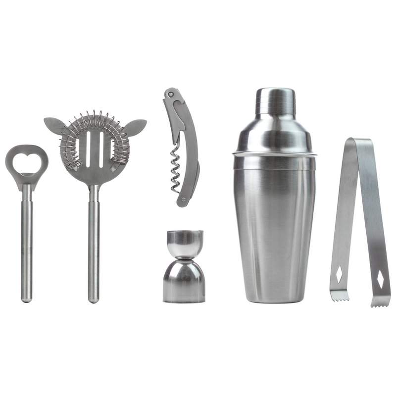 7 Piece Stainless Steel Cocktail Shaker Bar Set