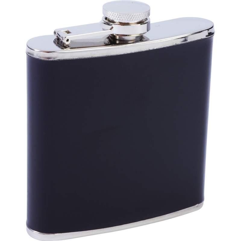 Stainless Steel and Black Genuine Leather Flask