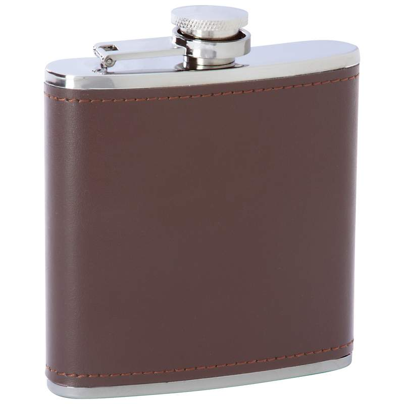 Stainless Steel Brown Genuine Leather Flask