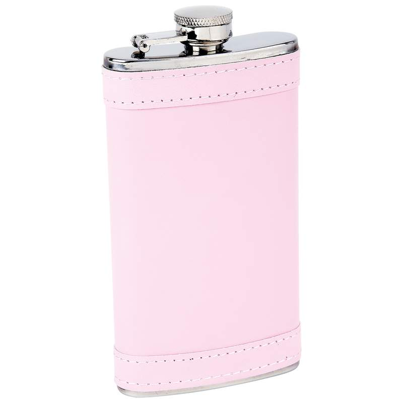 Stainless Steel and Pink Faux Leather Flask