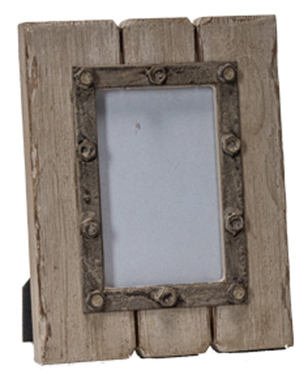 Rustic Wood Photo Frame with Bolts