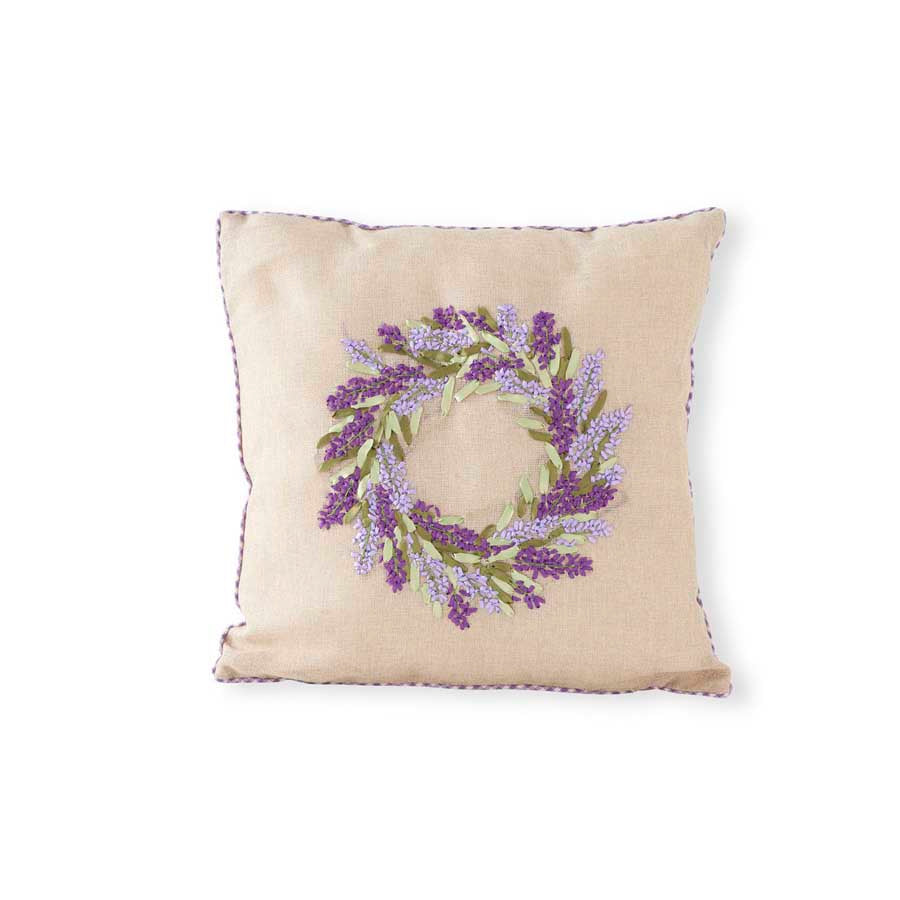 "16"" Pillow with Lavender Wreath"