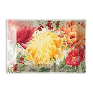 Morning Blossoms Rectangular Glass Soap Dish