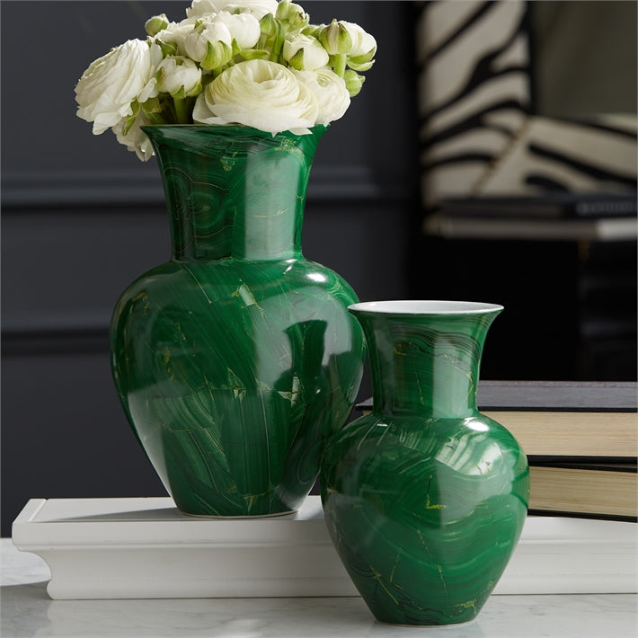 Malachite Porcelain Flared Temple Vase (Medium)