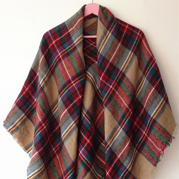 Ladies Plaid Shawl