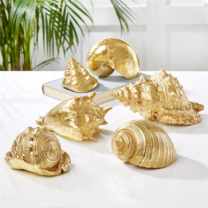 Coquillage D'or Distressed Gold Shell Figurines