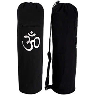 Black OM Cotton Yoga Mat Bag