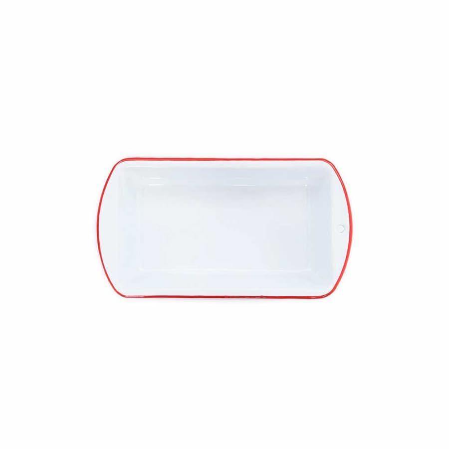 "Loaf Pan (9.25""x5.5"") - White Red Trim Enamelware"