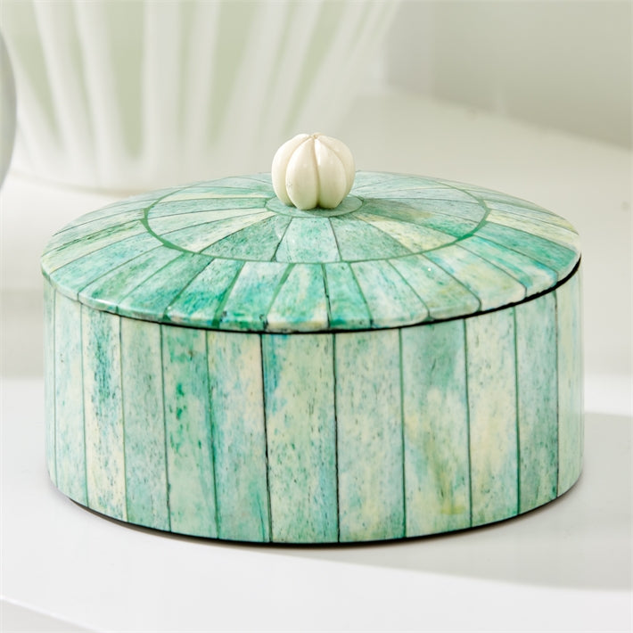 Carousel Verdigris Round Box with Lid