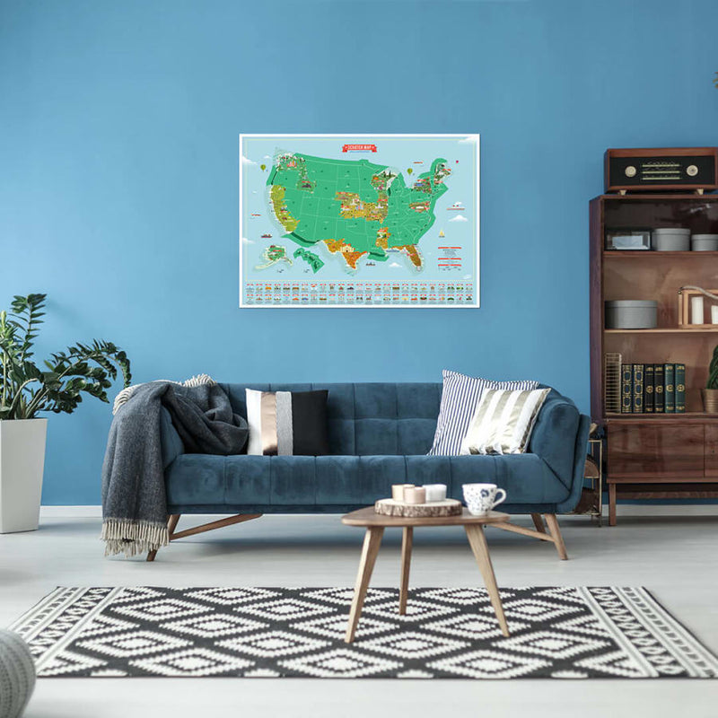 United States Landmarks Scratch Map