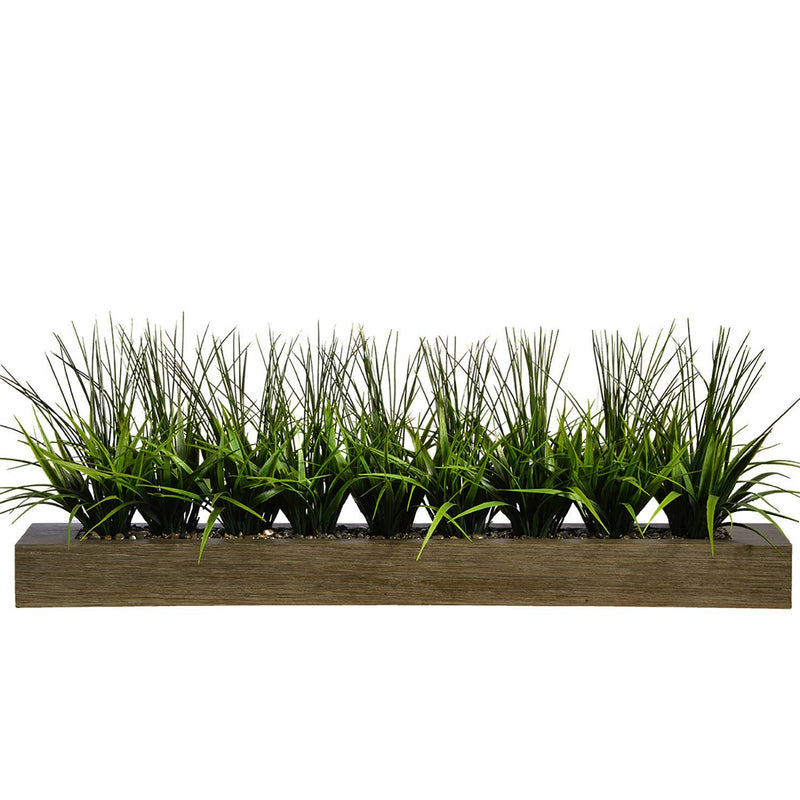 "Green Grass In Taupe Holder (13"")"