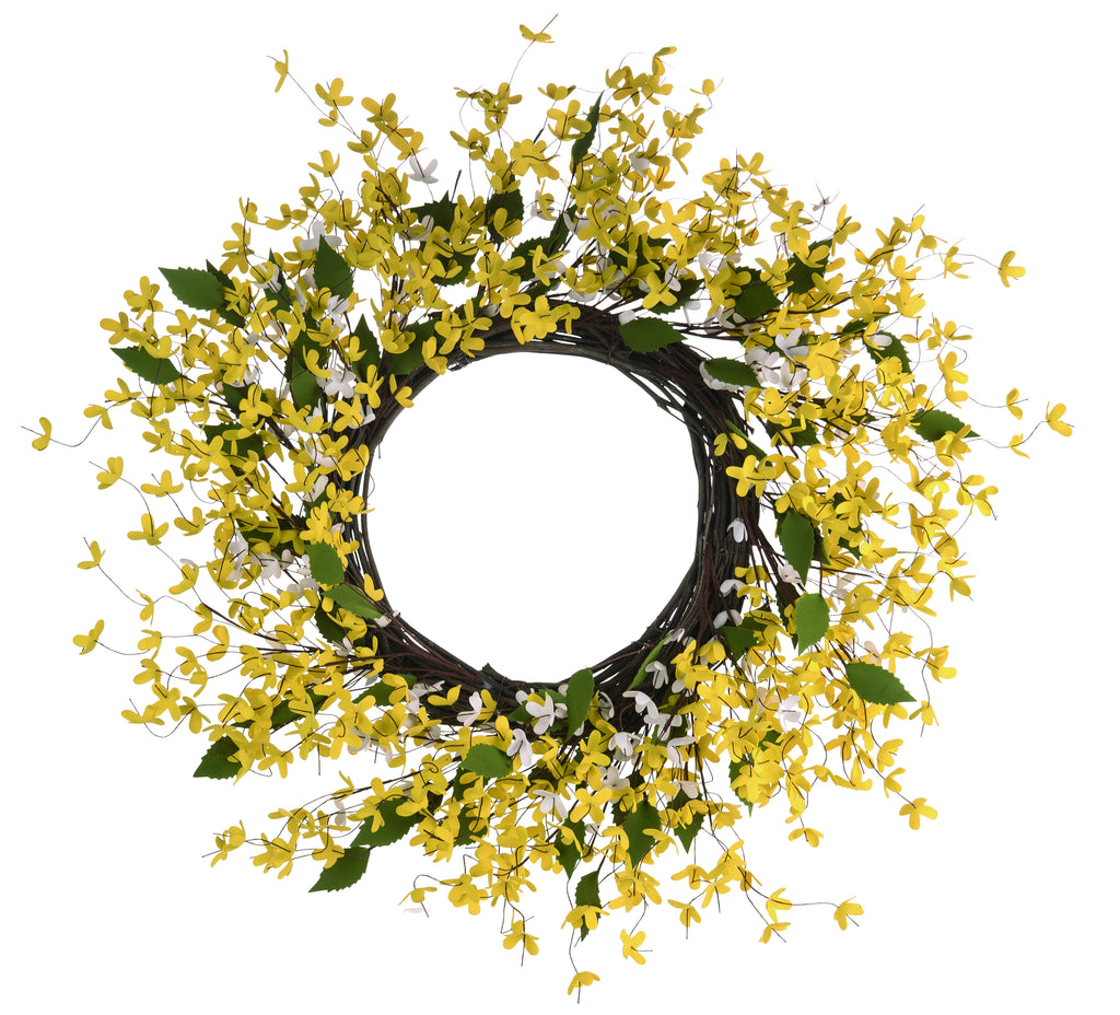 "22"" Yellow Spring Forsythia Wreath"
