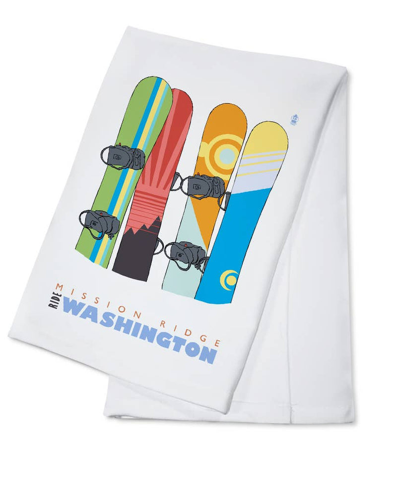 Snowboards in Snow Mission Ridge, Washington Towel