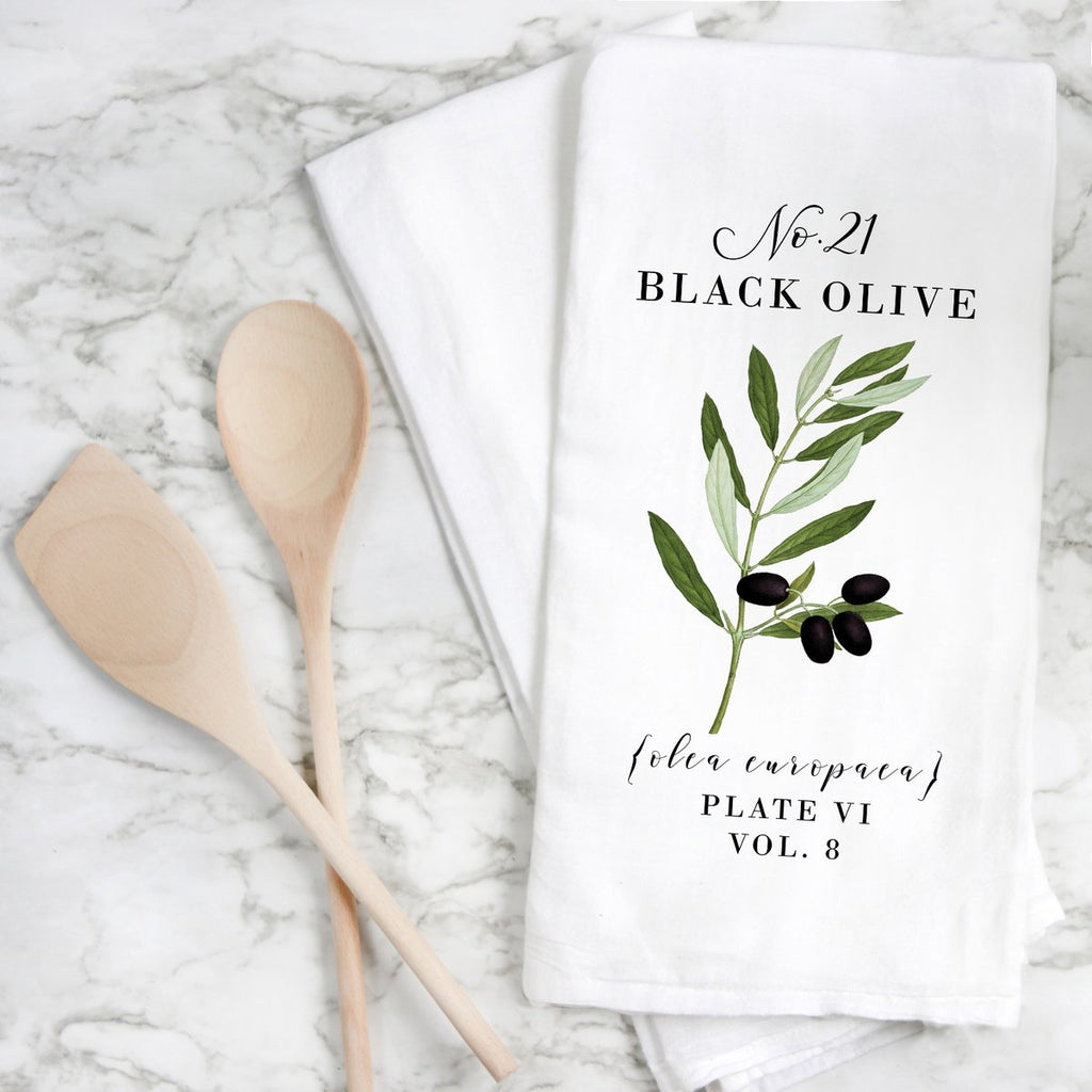 Black Olive Botanical Tea Towel