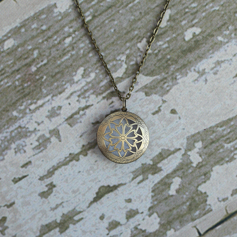 Antique Bronze Aromatherapy Diffuser Locket Necklace
