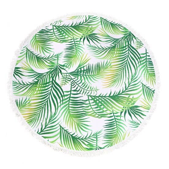 Palm Leaf Round Fringe Towel