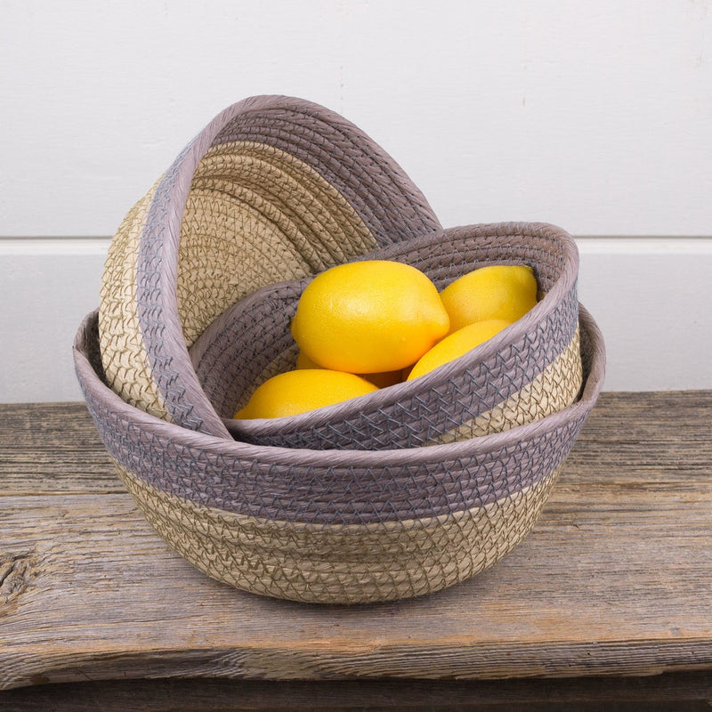 Grey/Tan Stitched Bowl/ Basket Set