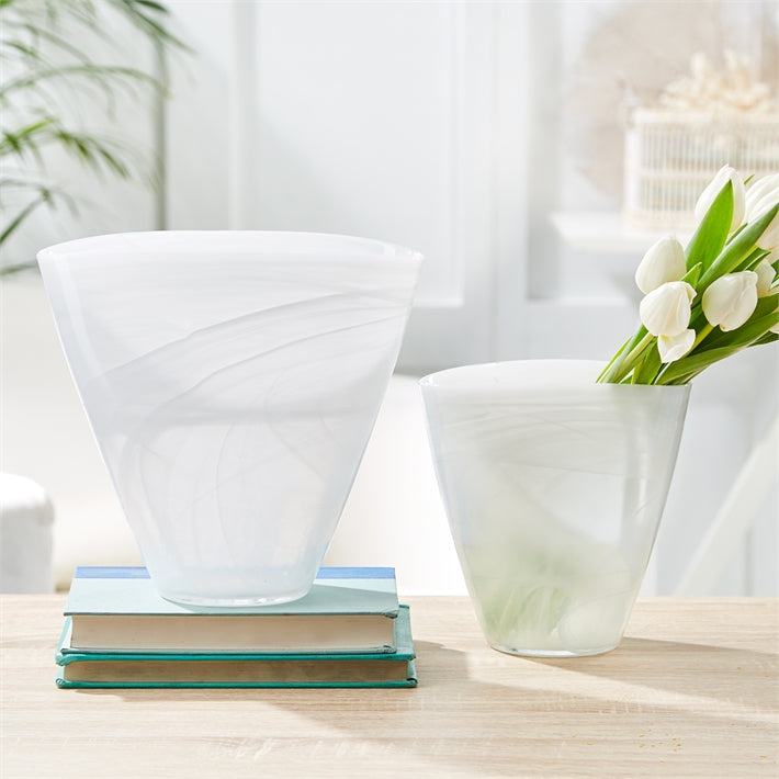 Striations White Flare Vase
