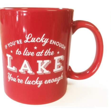 Lucky Enough To Live At The Lake Mug - Red