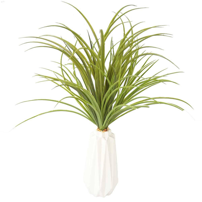 "Green Grass in White Ceramic Vase with USB Charging Station (26"")"