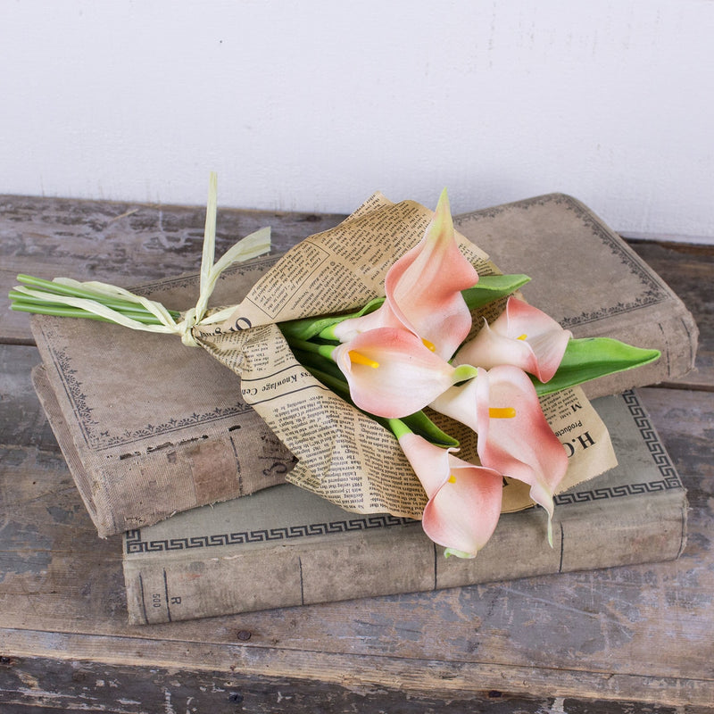 Coral Calla Lily Bundle in Paper