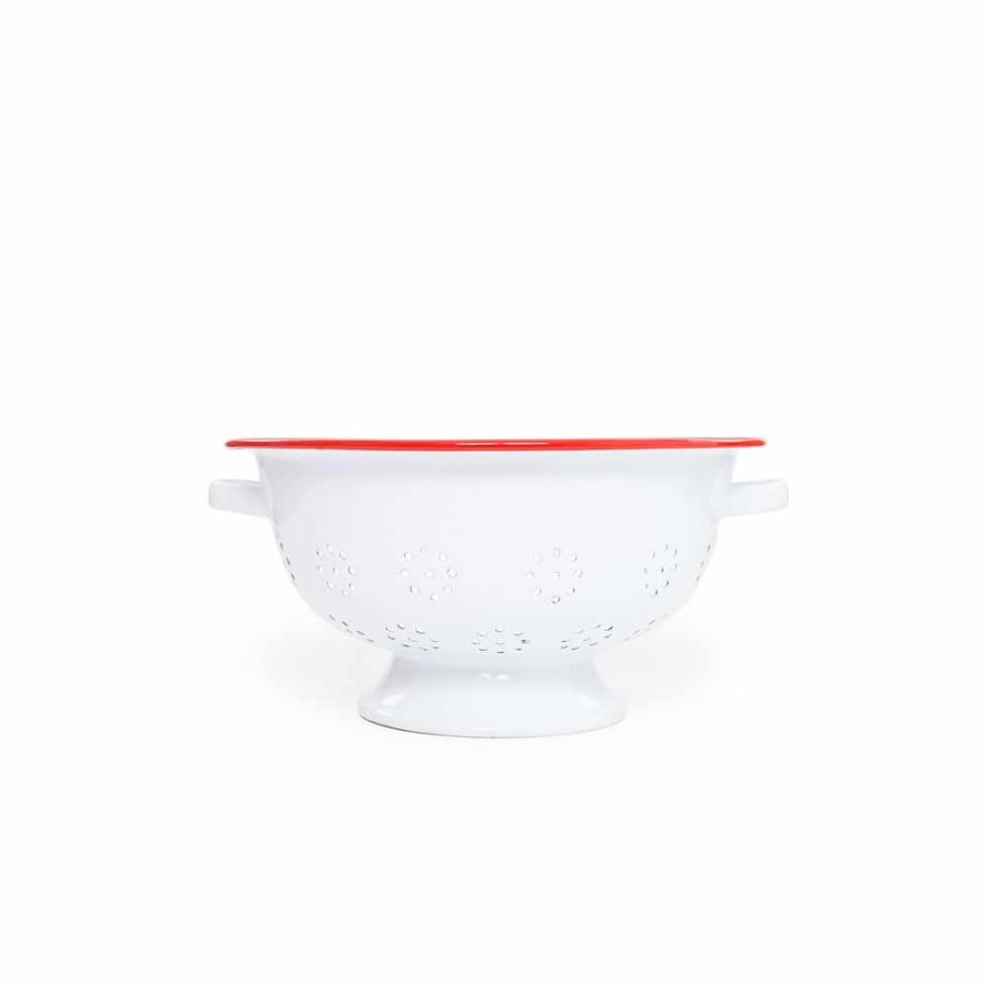 "Large Colander (4.5 qt.) 11"" - White Red Trim Enamelware"