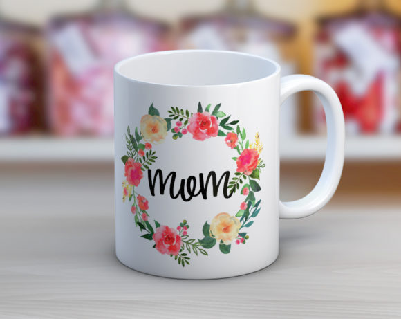 Mom Wreath Coffee Mug