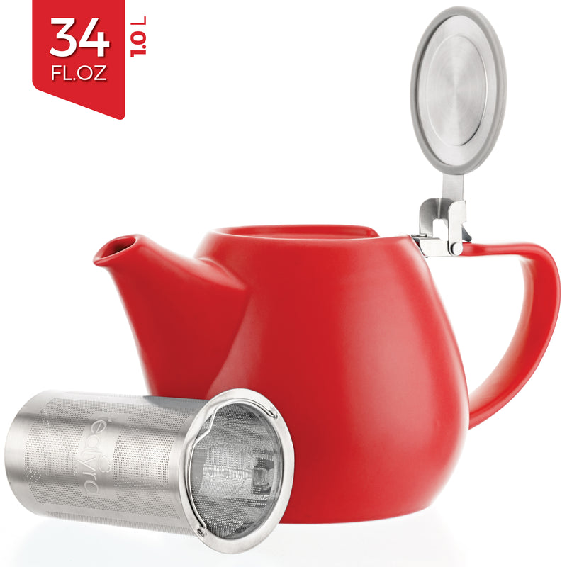 Red Porcelain Teapot with Infuser (34 oz)