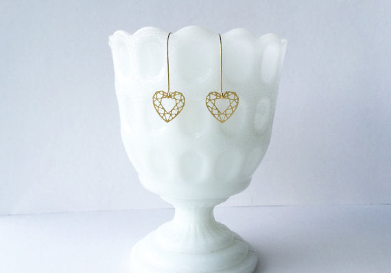 Heart Cut Gem Earrings | Brass