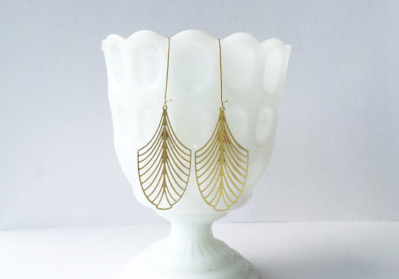 Art Deco Leaf Earrings | Brass