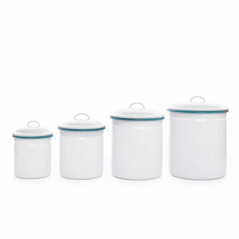 Canister Set (4 Pieces) - White and Black Trim Enamelware