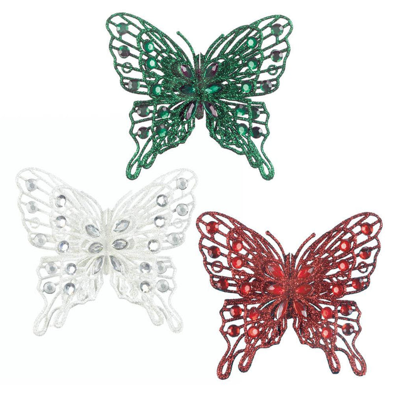 Festive Butterfly Christmas Ornament
